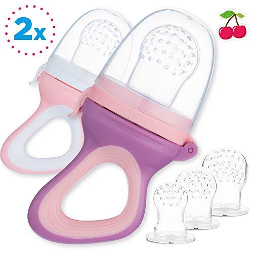 2 Fruchtsauger für Baby & Kleinkind + 6 Silikon-Sauger in 3 Größen - BPA-frei - Schnuller Beißring für Obst Gemüse Brei Beikost - Schließen Sie Netz -