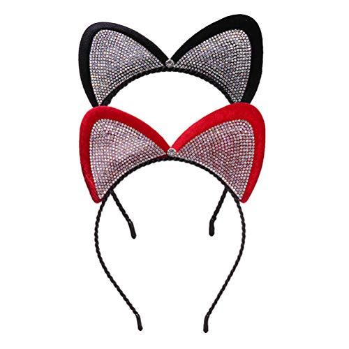 Lurrose 2 Stücke Nette Katze Ohr Stirnbänder Strass Haarband Haarschleife Haarspange Haarband Kostüm Cosplay Party Prom Zubehör für Frauen