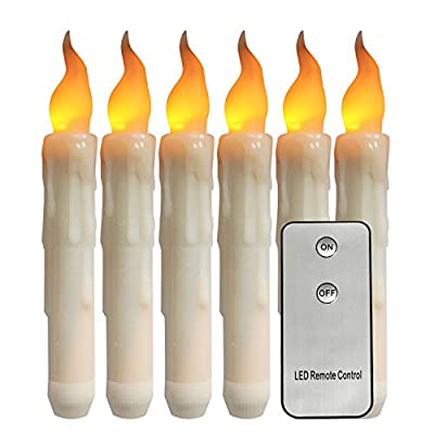 "Youngerbaby Set of 6 Amber Yellow Flameless Remote Taper Candles Bright Flickering Bulb Home Decorations Battery Operated LED Candle for Christmas,Wedding,Halloween,Thanksgiving - 6.69"" H x 0.79"" D from Youngerbaby"