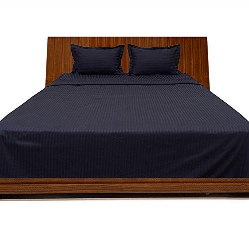 400TC, georgeous 4-Bettlaken-Set Streifen (Pocket Größe: 66cm), baumwolle, Navy Blue Stripe, EU...