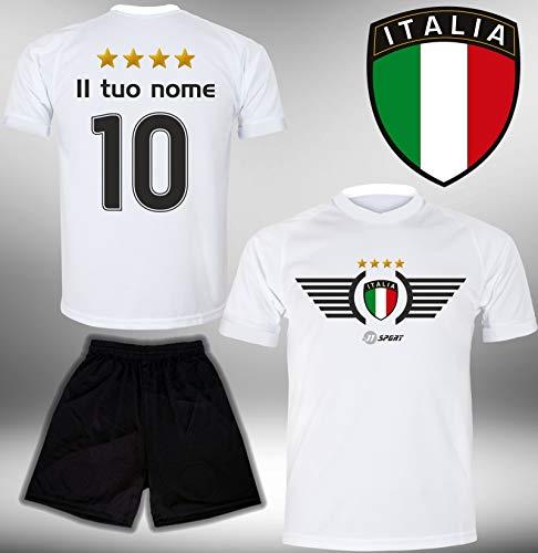ElevenSports Italien Trikot Set 2018 mit Hose GRATIS Wunschname + Nummer im EM WM Weiss Typ #IT2th - Geschenke für Kinder Erw. Jungen Baby Fußball T-Shirt Bedrucken Italia