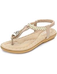 JRenok Damen Bohemian Sparkle Juwelen Flip Flops Sommer Strand Thong Comfort Elastic Flachen Sandalen Schwarz
