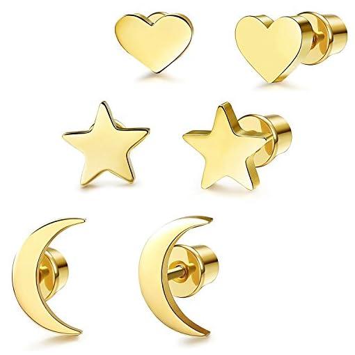 5065bc1e585a ... 3 Pares Acero Inoxidable Pendientes de Estrella Luna y Corazón de las Mujeres  Aretes Pendientes Piercing Cartilago Joyería de Moda. ¡Oferta! 🔍. On Sale