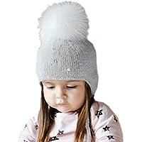 pompones de pelo para gorros y sombrero bebe, Sannysis gorro bebe de punto de invierno gorra con pelota hecha punto niños niñas carta caliente sombreros earbud (talla pequeño 45-51cm, gris)