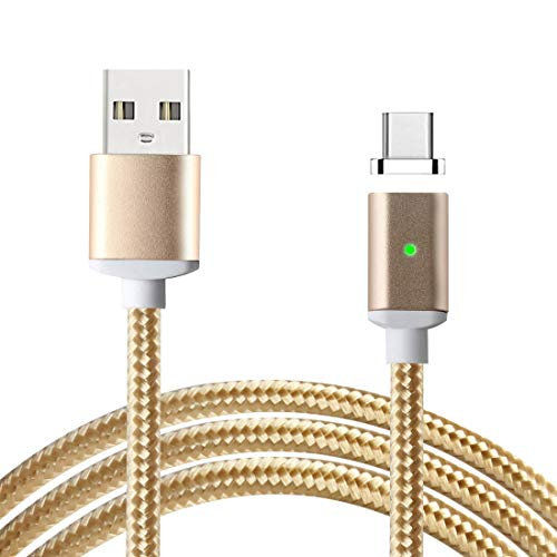 USB Type C Magnetic Charging Cable, Lively Life USB-A USB-C Adapter Charger High Speed Sync Data Transfer Cable Nylon Braided Wire with LED Indicator for Samsung LG Huawei Oneplus Gold