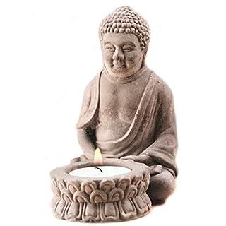 Arti Casa Buddha Tealight Holder Stone Effect Buddha Sculpture 13cm