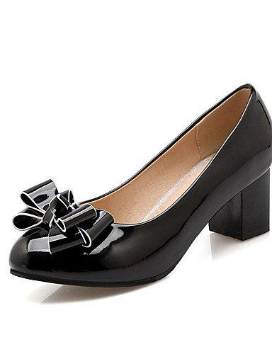 WSS 2016 Chaussures Femme-Bureau & Travail / Décontracté-Noir / Bleu / Rose / Beige-Gros Talon-Talons / Confort / Bout Arrondi-Talons-Cuir Verni / black-us5 / eu35 / uk3 / cn34