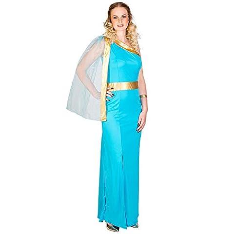 Frauenkostüm griechische Königin Helena | königliches Kleid mit sexy Beinschlitz | aufgenähte Tüllschärpe | goldene Bordüre unterhalb der Brust (M | Nr. (Götter Göttinnen Kostüme)