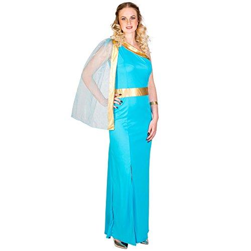 Frauenkostüm griechische Königin Helena | königliches Kleid mit sexy Beinschlitz | aufgenähte Tüllschärpe | goldene Bordüre unterhalb der Brust (XXL | Nr. 300507) ()