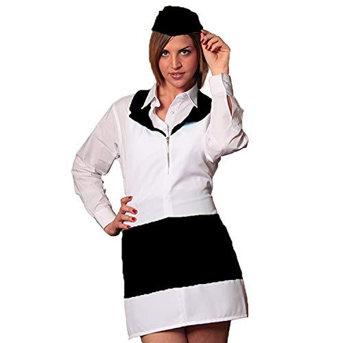 Fratelli ditalia grembiule zip donna sala albergo hotel cameriera barista lavoro bar ristorante (nero-bianco)