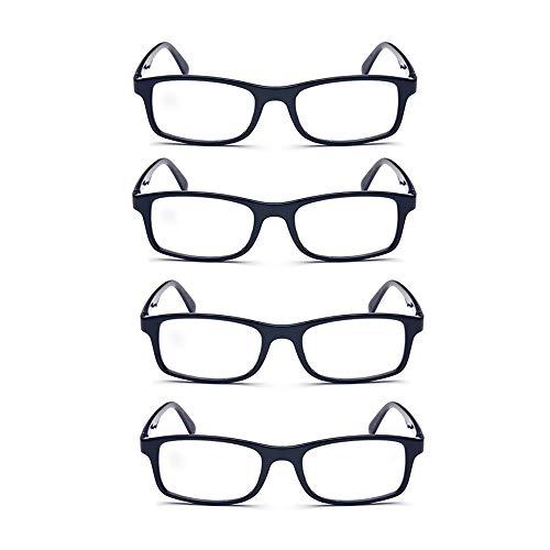 YOCC Faltbare Klassische Lesebrille Leichte, komfortable Lesebrille für Damen und Herren Brille mit großem Rechteckglas, 4-TLG,+1.50