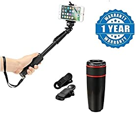 captcha Plastic and Metal Monopod Stick with Bluetooth Remote Controller and 12X Telephoto Lens for all Smartphones (1288.Selfie+12x.Telescope)