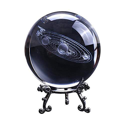 Galaxy Crystal Ball mit Ständer 3D Laser Sun System Clear Crystal Ball Ornament Glaskugel Dekorativen Planeten Miniaturen Büro Dekoration Ornament Geburtstagsgeschenk -