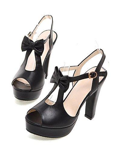UWSZZ IL Sandali eleganti comfort Scarpe Donna-Sandali-Ufficio e lavoro / Formale / Casual-Tacchi / Spuntate / Plateau-Quadrato-Finta pelle-Nero / Blu / Rosa / Bianco White