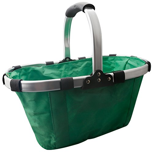 A-SZCXTOP Collapsible Picnic Fruit Basket Durable Shopping Bag Garden Tote Aluminum Alloy Frame and Environmental Oxford Cloth Lightweight and Portable-Green