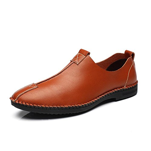 Casual Flache Ferse (Herrenschuhe Männer Loafers & Slip-Ons Comfort Light Sohlen Formale Schuhe Sommer Herbst Leder Casual Party & Abend Büro & Karriere Flache Ferse (Color : Brown, Size : 38))