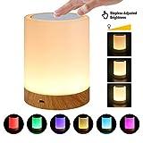 Lámpara de Mesa LED, Lámparas de Mesita de Noche con control táctil, Luz Nocturna Infantil de seis colores regulable para...