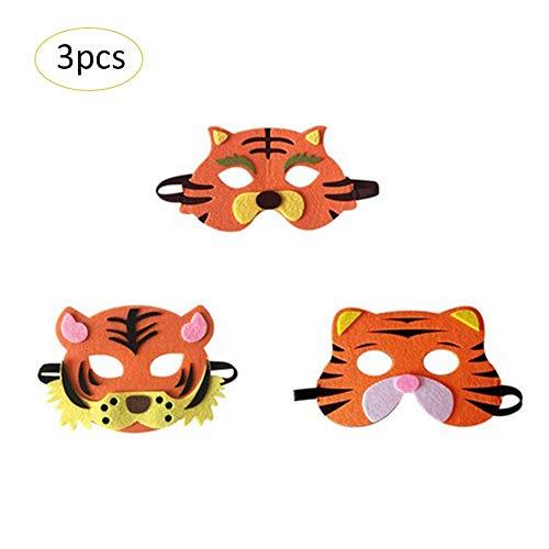 Familie Tiger Kostüm - Nearthuk Tiermasken für Weihnachten, Kuh-Maske, Tigermaske, Cosplay-Zubehör, Halloween-Kostüm, Kopfmasken für Kinder und Erwachsene, 3PCS-Tiger Family