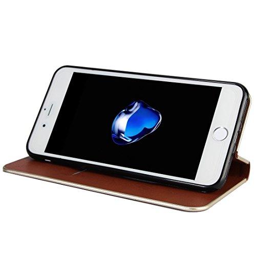 GHC Cases & Covers, Für iPhone 7 Plus Cowhide Texture PC Stoßfänger Starke magnetische Adsorption Horizontale Flip Leder Tasche mit Card Slots & Holder ( Color : Blue ) Brown