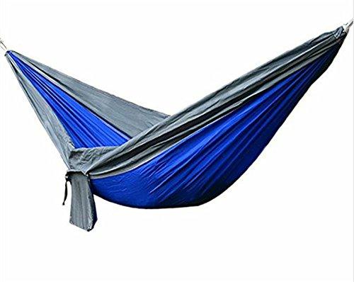 YunNasi Hamac Suspendu Portable en Toile de Parachute Inclut 2 Corde avec Mousquetons Camping Voyage Randonnée Jardin Pique-nique Bleu et Gris