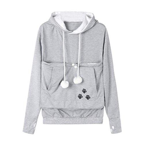Großer Känguru Taschen Kapuzenpulli für Frauen, Hmeng Damen Beiläufiger Haustier Hundekatze Halter Träger Langarmshirt Bluse Tops Mantel (XL, (Kostüme Top Halter)