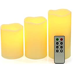 Songmics Pack de 3 velas de LED decorativas con mando a distancia y temporizador Alto de 10/12,5/15 cm Color marfil GLC75D