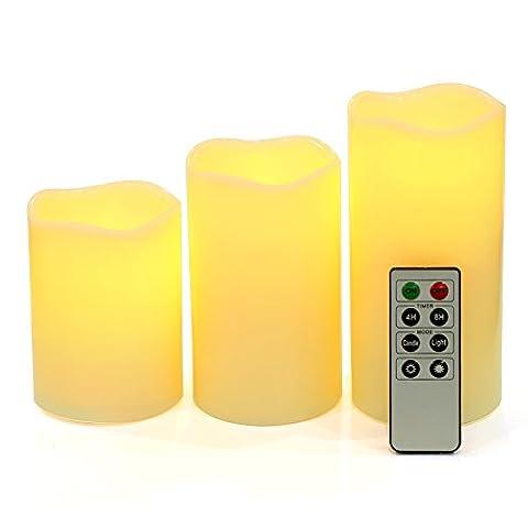 Songmics 3er Set flammenlose LED Kerzen aus echtem Wachs Timer Fernbedienung elfenbeinfarben GLC75D