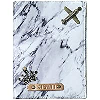 I Love Fashion Personalised Leather Marble White Coloured Passport Cover
