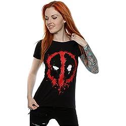 Marvel mujer Deadpool Splat Face Camiseta X-Large Negro
