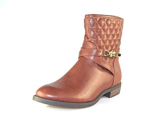 BTS, motivo a forma di diamante/stivali alla caviglia da donna trapuntato con cerniera e fibbie decorative, 14/15nuova collezione autunno/inverno marrone Gr. 3–8 Brown - BROWN