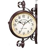 Ailiebhaus Double Face Horloges Station de Jardin Horloge Murale Extérieure Horloge Style de Antique Européen