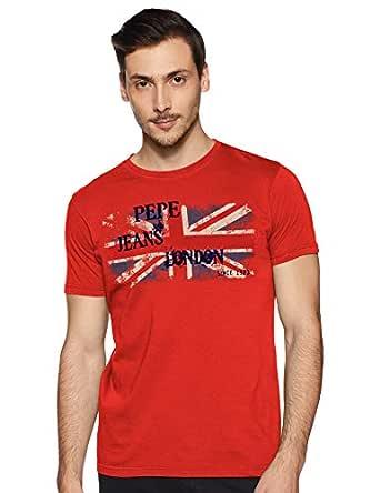 Pepe Jeans Men's Printed Slim fit T-Shirt (PM506632_Dk Coral_M)