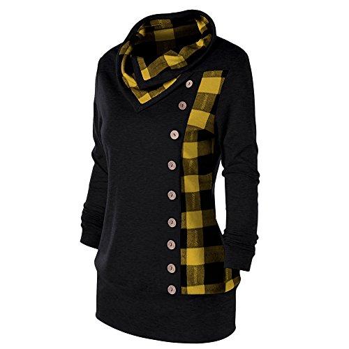 Frauen Groß Größe Pullover Cowl Collar Einreihige langärmliges kariertes Sweatshirt Gelb&Schwarz
