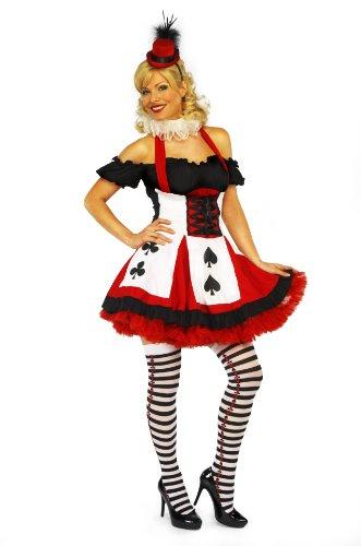 Mix lot Sexy Satin Miß Poker erwachsenes Abendkleid-Kostüm-Partei-Abnutzungs-Damen Outfit Größen 36-38 / 40-42 / 44/46 (klein, (Poker Kostüme)