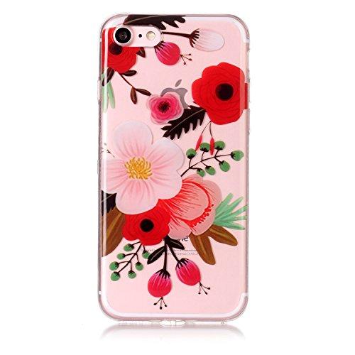 Cover iPhone 7 Spiritsun Case iPhone 8 Custodia Moda Ultraslim Trasparente Soft TPU Case Handy Cover High Quality Case Elegante Souple Flessibile Liscio Copertura Perfetta Protezione Shell Morbido Sil Fiore di Prugne