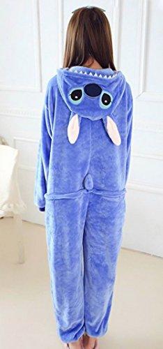 Y-BOA 1Pc Pyjama Combinaison Coton Femme Taille XL Stitch Bleu