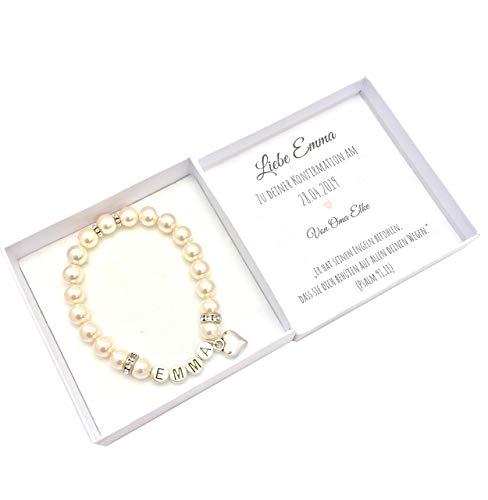 Konfirmation Geschenk Mädchen personalisiert mit Geschenkbox, Namensarmband Perlen, Konfirmationsgeschenk