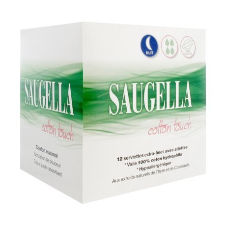 Saugella cotone Touch Night 12tovaglioli sanitari Extra-Fine con