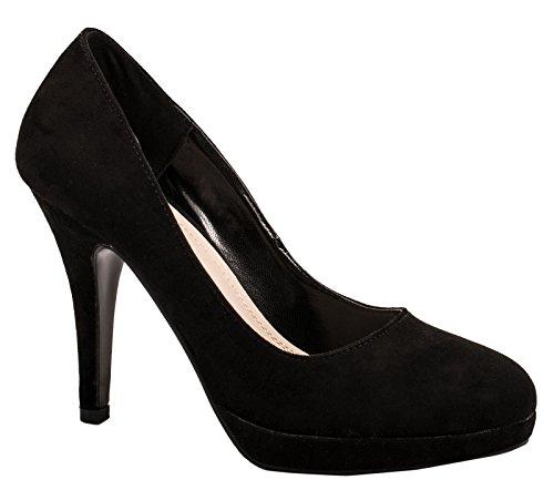 Elara Damen Pumps Pastell Plateau High Heels Schuhe Velouroptik Elegant Peep-Toes Hochzeit Party Farbe Schwarz, Größe 36