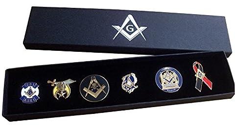 Masonic Pin Badge Collection (Set B) - Square & Compass + Embossed Gift Box - Freemason
