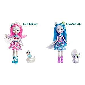 Enchantimals Muñeca con Mascota Saffi Swan (Mattel FRH38) + Muñeca con Mascota Winsley Wolf (Mattel FRH40)