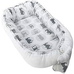 Vizaro - Baby-Nest cocon pour bébé à usage MULTIPLE  pour CODODO  RÉDUCTEUR DE LIT  MATELAS À LANGER, couffin de voyage - 100% COTON - Fabriqué UE - C. Ours Gris