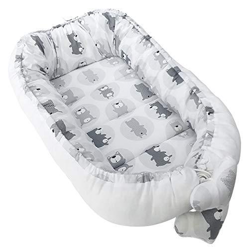 Vizaro - BABYNEST, Nestchen, multifunktionales Kuschelnest für Babys/Wickeltischauflage/Co-Sleeping - 100% REINE BAUMWOLE - Made in EU - ÖkoTex - K. Graue Bären