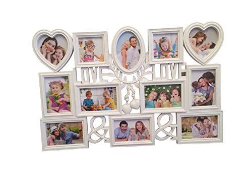 2 Fotos, XXL 72x48 cm, das perfekte Geschenk für den Liebsten/die Liebste, zur Hochzeit, zum Geburtstag, weiß, Kunststoff, romantisch 12 Fotos zu je 10x15cm ()