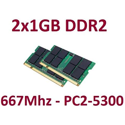 Dual Channel kit 2x 1GB, 200pines, DDR2–667SO-DIMM (667MHz, PC2–5300, CL5), Double