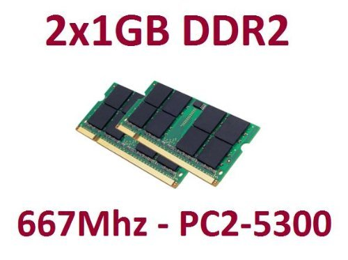 Dual Channel Kit 2x 1 GB 200 pin DDR2-667 SO-DIMM (667Mhz, PC2-5300, CL5), double sided -