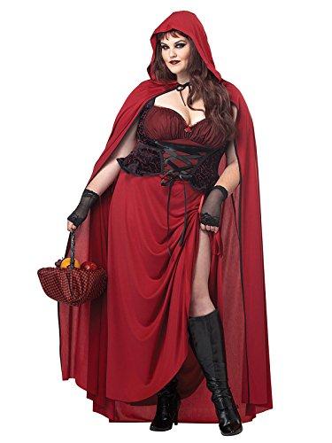 Kostüme Halloween Supersexy (Gothic Rotkäppchen Halloween Damenkostüm XXL rot-schwarz)