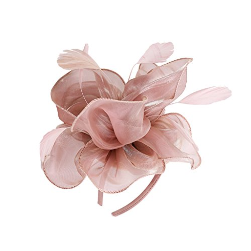 MagiDeal Dame Blume Fascinator Hut 1920er Gatsby Stirnband Cocktail Party - Rosa