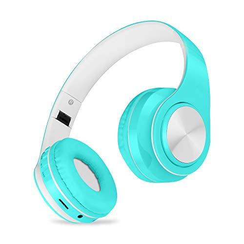MeihuaTu Cuffie Bluetooth Stereo, Cuffie Over-Ear Con Autonomia 10 Ore, Cuffie Chiuse Wireless, Cuffie Bluetooth Senza Fili Con Microfono Per Samsung/Huawei/Telefoni/PC e Altri - Tiffany blu