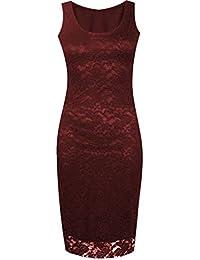 neuen Frauen Bodycon Plus Size Lace Midikleid Blumenspitze Kleid 36-50